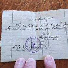 Manuscritos antiguos: JML RECUBO MANUSCRITO ENTREGA 5 PESETAS FALANGE TRADICIONALISTA LA JONS HUERCAL OVERA ALMERIA 1939. Lote 262056795