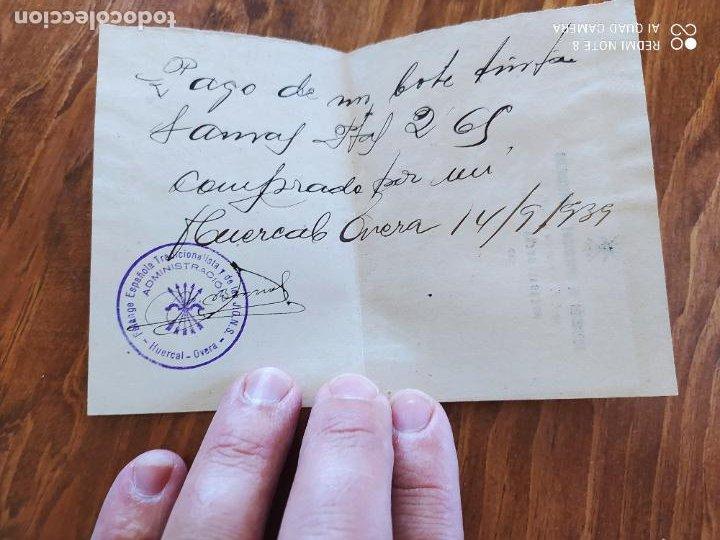 JML FALANGE ESPAÑOLA DE LA JONS FRANCO NACIONALES RECIBO PAGO HUERCAL OVERA ALMERIA 1939 (Coleccionismo - Documentos - Manuscritos)