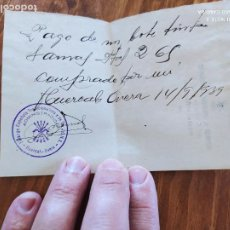 Manuscritos antiguos: JML FALANGE ESPAÑOLA DE LA JONS FRANCO NACIONALES RECIBO PAGO HUERCAL OVERA ALMERIA 1939. Lote 262057385