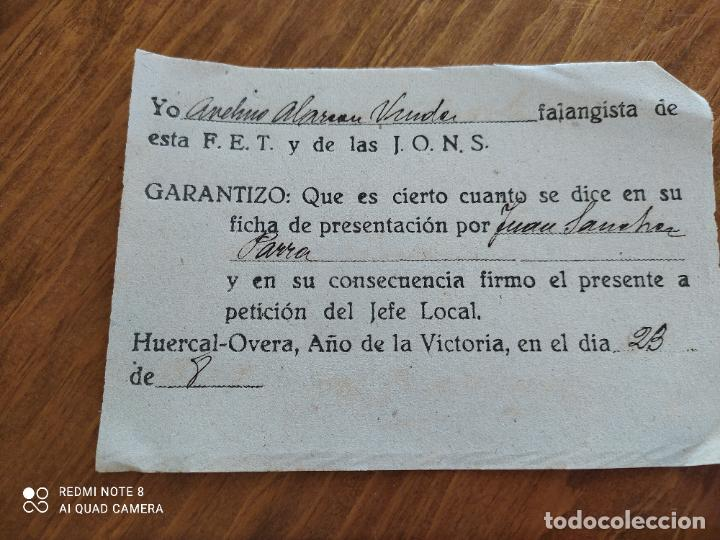 Manuscritos antiguos: JML DOCUMENTO LEALTAD ANTE LA FALANGE FET JONS HUERCAL OVERA ALMERIA FRANQUISMO GUERRA CIVIL 1939 - Foto 2 - 262061210
