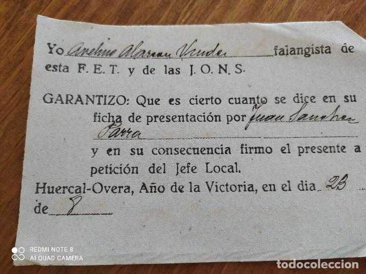 Manuscritos antiguos: JML DOCUMENTO LEALTAD ANTE LA FALANGE FET JONS HUERCAL OVERA ALMERIA FRANQUISMO GUERRA CIVIL 1939 - Foto 3 - 262061210