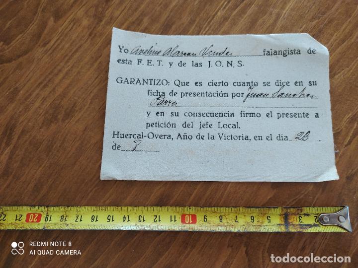 JML DOCUMENTO LEALTAD ANTE LA FALANGE FET JONS HUERCAL OVERA ALMERIA FRANQUISMO GUERRA CIVIL 1939 (Coleccionismo - Documentos - Manuscritos)