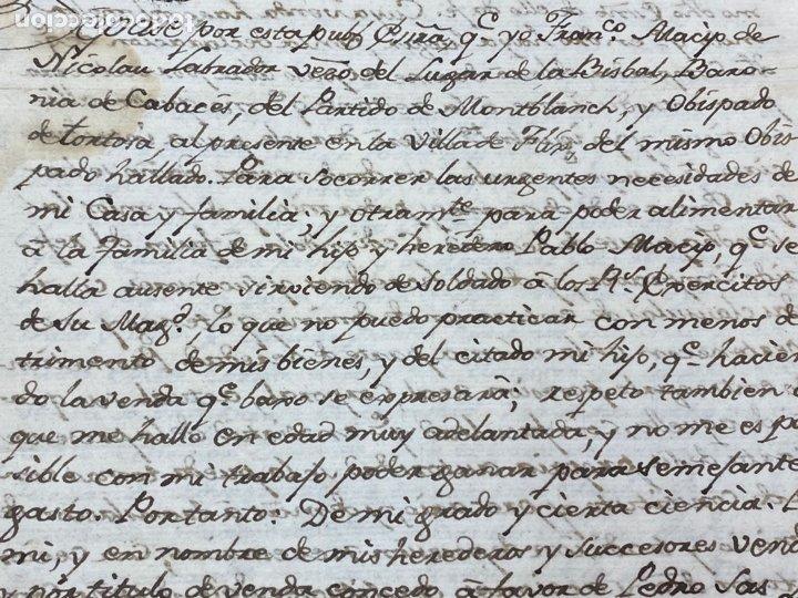 Manuscritos antiguos: SELLO SEGUNDO 1801. LUGAR DE LA BISBAL PARTIDO DE MONTBLANC. VENTA TERRENO REGADÍO FIRMA - Foto 2 - 262433305