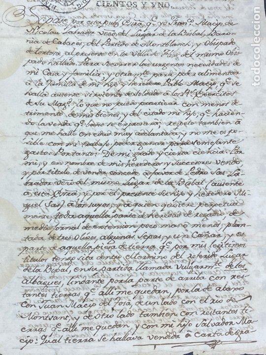 Manuscritos antiguos: SELLO SEGUNDO 1801. LUGAR DE LA BISBAL PARTIDO DE MONTBLANC. VENTA TERRENO REGADÍO FIRMA - Foto 3 - 262433305