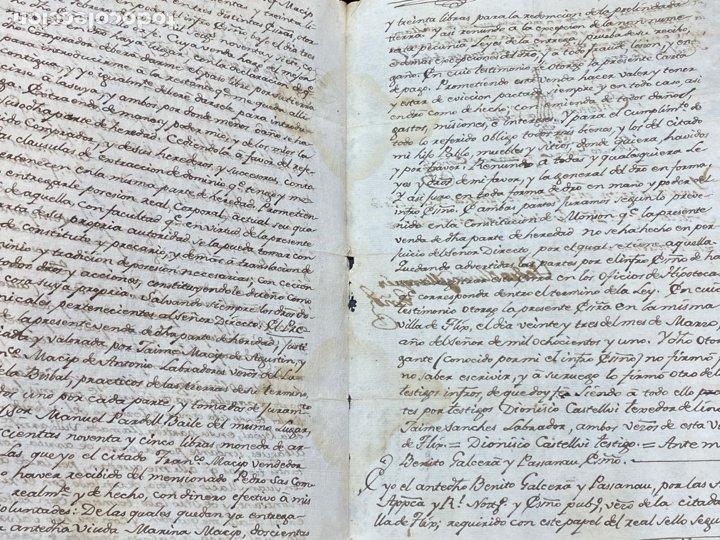 Manuscritos antiguos: SELLO SEGUNDO 1801. LUGAR DE LA BISBAL PARTIDO DE MONTBLANC. VENTA TERRENO REGADÍO FIRMA - Foto 4 - 262433305