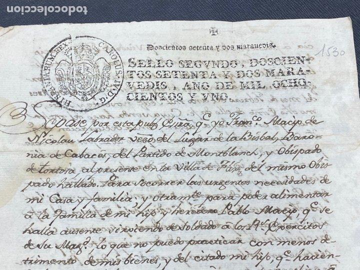 SELLO SEGUNDO 1801. LUGAR DE LA BISBAL PARTIDO DE MONTBLANC. VENTA TERRENO REGADÍO FIRMA (Coleccionismo - Documentos - Manuscritos)