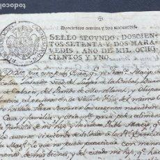 Manuscritos antiguos: SELLO SEGUNDO 1801. LUGAR DE LA BISBAL PARTIDO DE MONTBLANC. VENTA TERRENO REGADÍO FIRMA. Lote 262433305