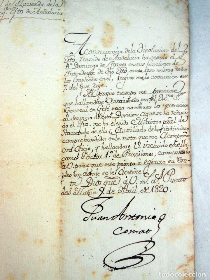 Manuscritos antiguos: NOMBRAMIENTO COMO FACTOR 1º DE PROVISIONES A MATEO ORDEMANA POR JUAN ANTONIO COMAT. 1820 - Foto 2 - 262948235