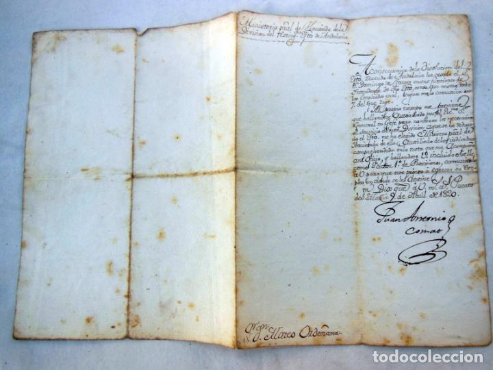 NOMBRAMIENTO COMO FACTOR 1º DE PROVISIONES A MATEO ORDEMANA POR JUAN ANTONIO COMAT. 1820 (Coleccionismo - Documentos - Manuscritos)