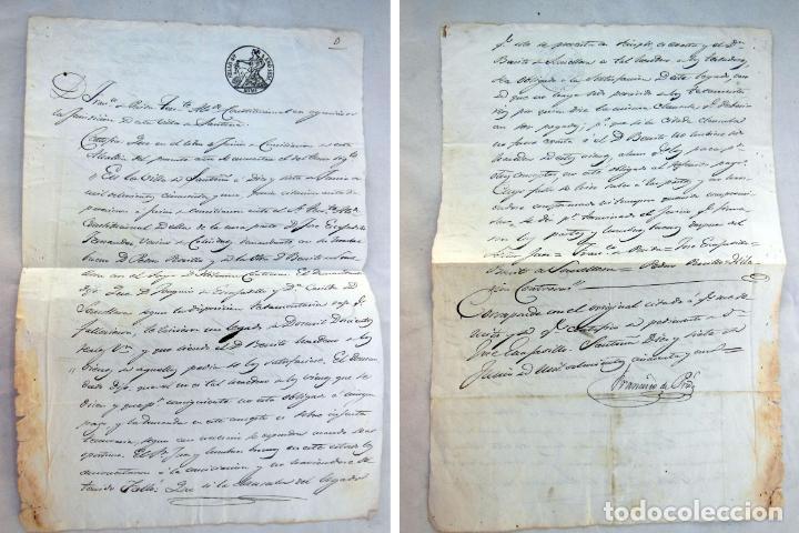 FRANCISCO PRIDA (SANTOÑA) EN LITIGIO JOSE ESCAJADILLO FERNÁNDEZ (COLINDRES) BENITO SOMELLERA 1851 (Coleccionismo - Documentos - Manuscritos)