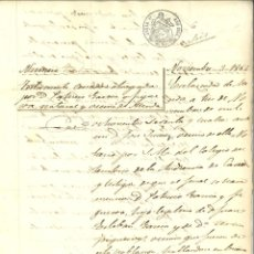 Manuscritos antiguos: DOCUMENTO MANUSCRITO, PAPEL SELLADO FISCAL, SELLO 9º, AÑO 1864. REINADO ISABEL II. Lote 263057940