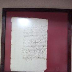 Manuscritos antiguos: DOCUMENTO ANTIGUO ENMARCADO. Lote 263197445
