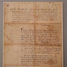 Manuscrits anciens: DOCUMENTO ORIGINAL 1824 JOAQUIN IBAÑEZ CUEVAS BARON DE EROLES MARQUES DE LA CAÑADA, PERMISO ARMAS. Lote 263228130