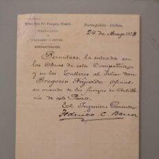 Manuscritos antigos: DOCUMENTO ORIGINAL 1878 PORTUGALETE BILBAO IRON ORE COMPANY LIMITED FERRO-CARRIL GALDAMES A SESTAO. Lote 263228780