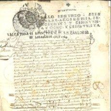 Manuscrits anciens: DOCUMENTO MANUSCRITO, PAPEL SELLADO FISCAL, SELLO 2º, COLONIAL HABILITADO AÑOS 1763 Y 1764. 6 REALES. Lote 263730420