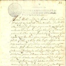 Manuscritos antigos: DOCUMENTO MANUSCRITO, PAPEL SELLADO FISCAL, SELLO 4º, AÑO 1704. 10 MARAVEDIS.. Lote 264562204