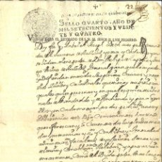 Manuscritos antigos: AÑO 1724. LUIS I. ESCASO DOCUMENTO MANUSCRITO, PAPEL SELLADO FISCAL, SELLO PARA DESPACHOS DE OFICIO. Lote 264564159