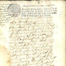 Manuscritos antigos: DOCUMENTO MANUSCRITO, PAPEL SELLADO FISCAL, SELLO 2º, AÑO 1731. 136 MARAVEDIS.. Lote 264564579