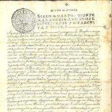 Manuscritos antigos: DOCUMENTO MANUSCRITO, PAPEL SELLADO FISCAL, SELLO 4º, AÑO 1747. 20 MARAVEDIS.. Lote 264568594