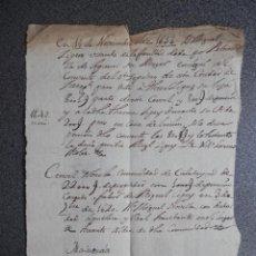 Manuscritos antiguos: MANUSCRITO AÑO 1642 ZARAGOZA DONACIÓN CONVENTO STO SEPULCRO, CENSAL DE MALUENDA CALATAYUD. Lote 265386274