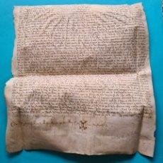 Manuscritos antiguos: SEVILLA - SIGLO XIV - AÑO 1400 - PERGAMINO DE GRAN TAMAÑO 45 X 40 CM - VER FOTOS. Lote 265756649