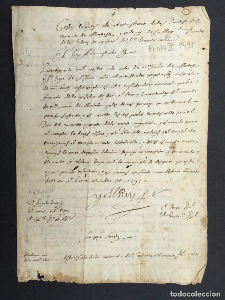 AÑO 1593 - MANUSCRITO - ORDEN DE MONTESA - FIRMA DE FELIPE II - TEMPLARIOS (Coleccionismo - Documentos - Manuscritos)