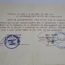 Manuscritos antiguos: DOCUMENTO CARTA DE AGRADECIMIENTO CUBANA - DIRIGIDA A UNA FARMACIA -AÑO 2000 - MUY RARO. Lote 267889794