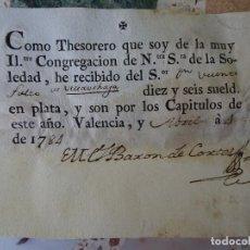 Manoscritti antichi: VALENCIA, 1784, RECIBO CONGREGACIÓN NUESTRA SEÑORA DE LA SOLEDAD. Lote 268035159