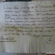 Manoscritti antichi: VALENCIA, 1785, RECIBO REAL CONVENTO DE DOMINICAS, CENSO CASA FRENTE PORTAL DEL REAL. Lote 268035904