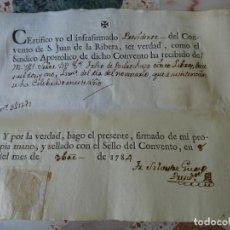 Manoscritti antichi: VALENCIA RECIBO CONVENTO SAN JUAN DE LA RIBERA, 1784. Lote 268036174