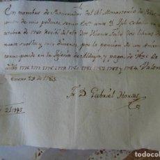 Manuscrits anciens: VALENCIA RECIBO DEL MONASTERIO DE POBLET, ANIVERSARIO IGLESIA ALDAYA, 1785. Lote 268038449