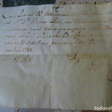 Manuscrits anciens: VALENCIA RECIBO REAL MONASTERIO LA ZAIDÍA, 1781, CENSO BENIFAYÓ. Lote 268038744