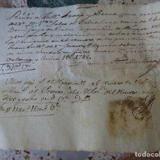 Manuscrits anciens: VALENCIA RECIBO DE PROCURADOR A VICENTE FALCÓ DUEÑO DEL LUGAR DE BENIFAYÓ, 1785. Lote 268039594