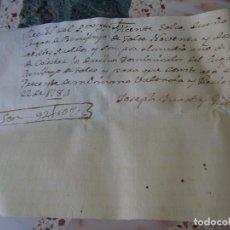 Manuscrits anciens: BENIFAYÓ, VALENCIA, RECIBO COLECTA DE LOS DERECHOS SEÑORIALES 1784. Lote 268041299