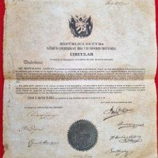 Manuscritos antiguos: DOCUMENTO EJERCITO LIBERTADOR DE CUBA BAYAMO 1868 CIRCULAR FIRMA C.M. CESPEDES Y OTROS ORIGINAL. Lote 268957309
