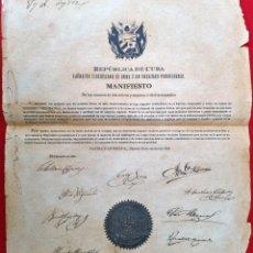 Manuscritos antiguos: DOCUMENTO EJERCITO LIBERTADOR DE CUBA BAYAMO 1868 MANIFIESTO FIRMA C.M. CESPEDES Y OTROS ORIGINAL. Lote 268957409