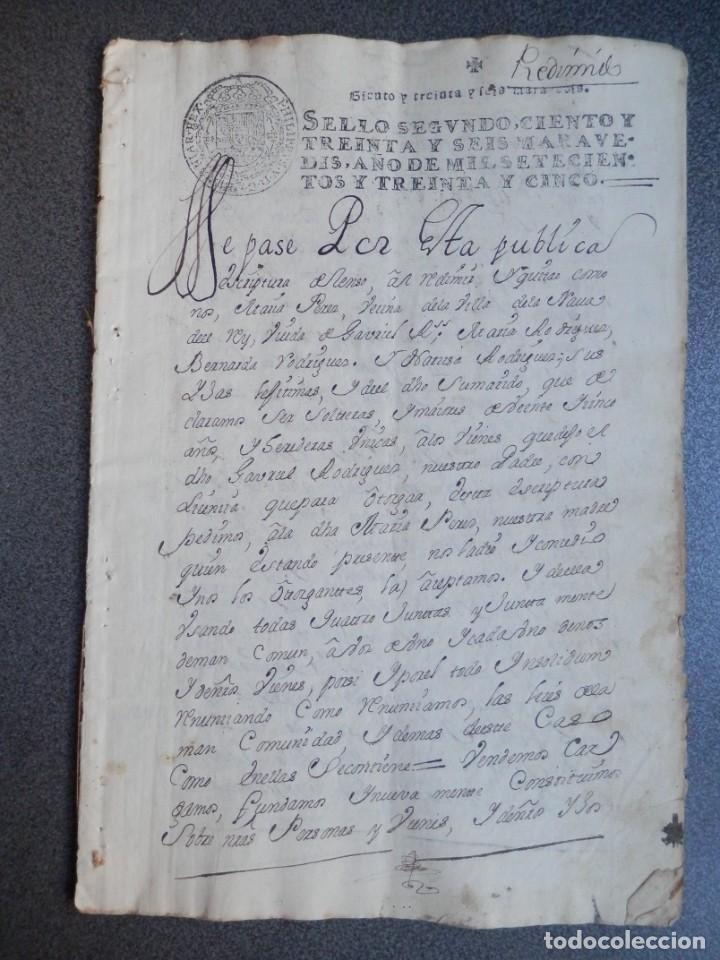 MANUSCRITO AÑO 1735 FISCALES 2º RARO Y LUJO MEDINA DEL CAMPO VALLADOLID CENSO REDIMIDO 18 PAGS (Coleccionismo - Documentos - Manuscritos)
