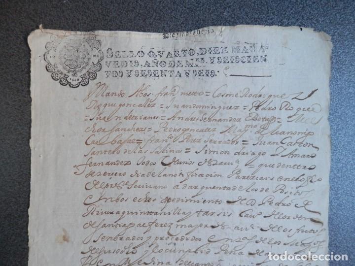 Manuscritos antiguos: MANUSCRITO AÑO 1666 FISCAL 4º LUJO MEDINA DEL CAMPO VALLADOLID NOTIFICACIÓN JUDICIAL - Foto 2 - 269031279