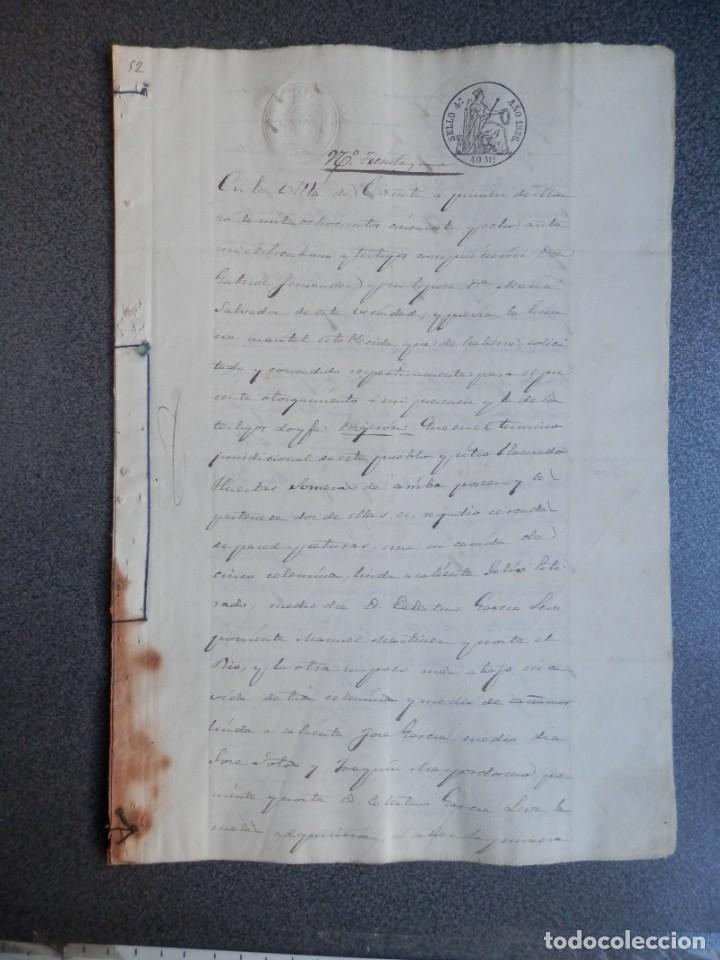 MANUSCRITO AÑO 1858 FISCALES 4ºS CAÑETE CUENCA VENTA DE TIERRAS 5 PÁGS. (Coleccionismo - Documentos - Manuscritos)