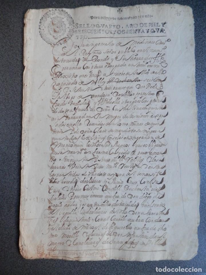 MANUSCRITO AÑO 1684 FISCALES POBRES MUY RAROS Y LETRAS N INVERTIDAS RONDA MÁLAGA ALCALDE (Coleccionismo - Documentos - Manuscritos)