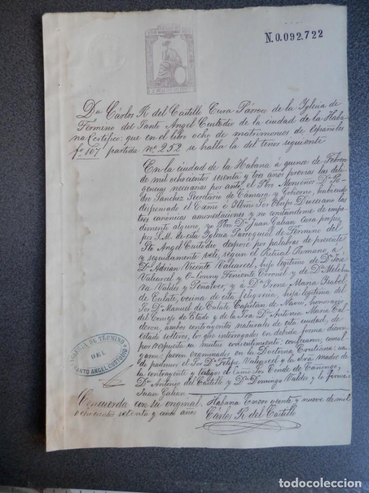 ESCLAVITUD CUBA MANUSCRITO AÑO 1875 CERTIFICADO MATRIMONIO DE ESPAÑOLES FISCAL 8º BONITA LETRA (Coleccionismo - Documentos - Manuscritos)