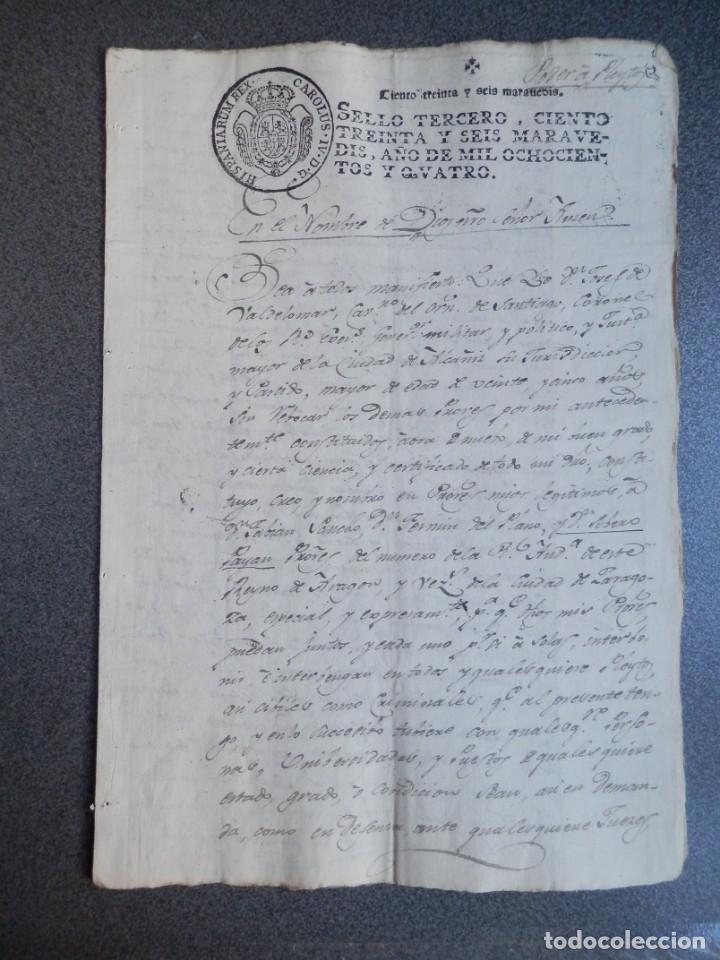 MANUSCRITO AÑO 1804 FISCAL 3º ALCAÑIZ TERUEL - PODER PARA PLEITOS (Coleccionismo - Documentos - Manuscritos)