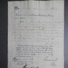 Manuscritos antiguos: MANUSCRITO AÑO 1832 RENTAS REALES DE GALICIA MESÍA CARTA DE PAGO. Lote 269162998