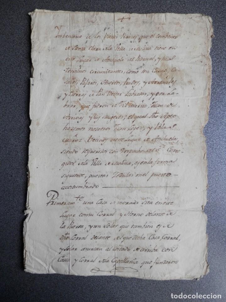 MANUSCRITO SIGLO XVIII MOLINA DE ARAGÓN Y ANCHUELA GUADALAJARA BIENES CONVENTO SANTA CLARA (Coleccionismo - Documentos - Manuscritos)