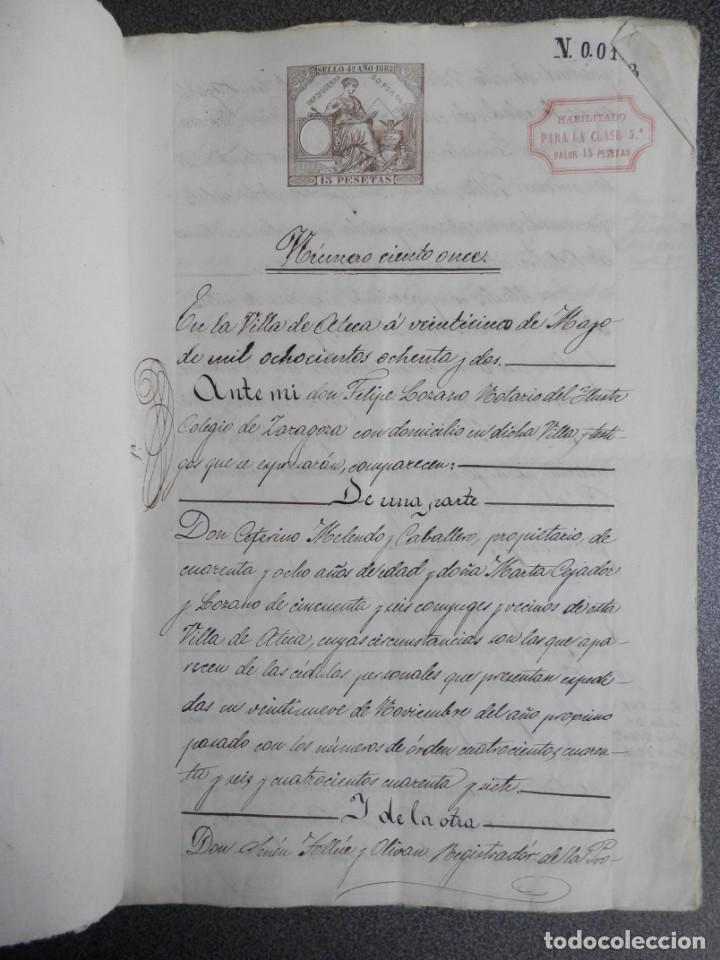 MANUSCRITO AÑO 1882 FISCALES 4º Y 11º HABILITADOS ATECA ZARAGOZA ESCRITURA PRÉSTAMO 10 PÁGS (Coleccionismo - Documentos - Manuscritos)