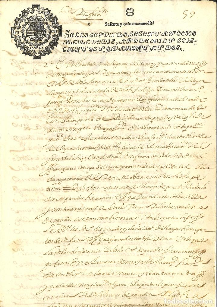 AÑO 1642. SELLO 2º. PAPEL SELLADO FISCAL. DOCUMENTO MANUSCRITO, 68 MARAVEDIS. REINADO DE FELIPE IV (Coleccionismo - Documentos - Manuscritos)