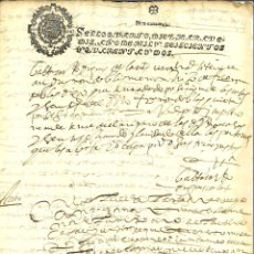 Manuscritos antiguos: AÑO 1642. SELLO 4º. PAPEL SELLADO FISCAL. DOCUMENTO MANUSCRITO, 10 MARAVEDIS. REINADO DE FELIPE IV. Lote 269189423
