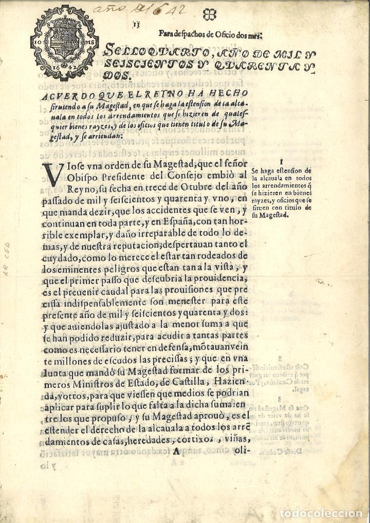 AÑO 1642. SELLO 4º DE OFICIO. PAPEL SELLADO FISCAL. DOCUMENTO IMPRESO, 2 MARAVEDIS. FELIPE IV (Coleccionismo - Documentos - Manuscritos)