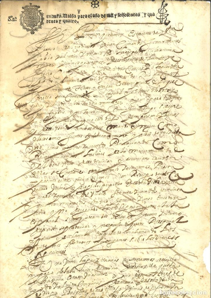 AÑO 1644. SELLO 2º. PAPEL SELLADO FISCAL. DOCUMENTO MANUSCRITO, 68 MARAVEDIS. REINADO DE FELIPE IV (Coleccionismo - Documentos - Manuscritos)