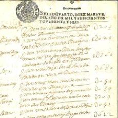 Manuscritos antiguos: AÑO 1646. SELLO 4º. PAPEL SELLADO FISCAL. DOCUMENTO MANUSCRITO, 10 MARAVEDIS. REINADO DE FELIPE IV. Lote 269189733